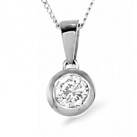 18K White Gold 0.50ct Diamond Pendant, DP02-50PKW